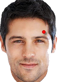 point above eyebrow