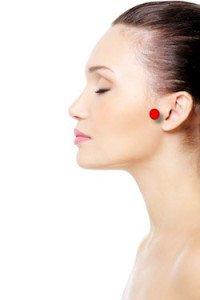 point near ear
