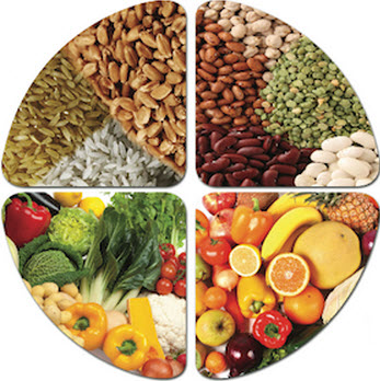 fruits, vegetables, grains